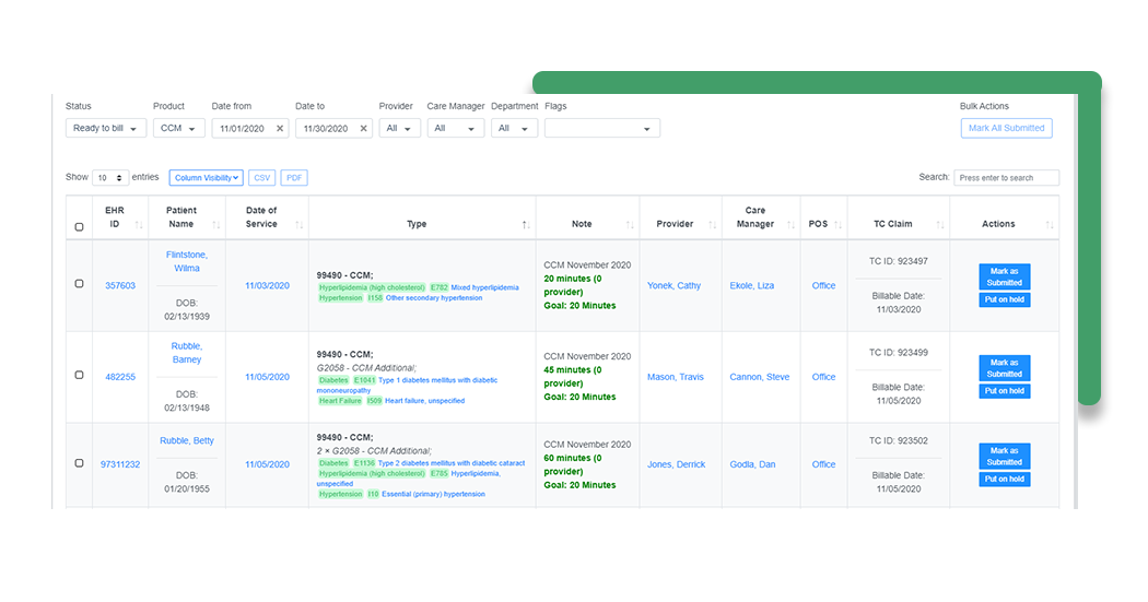 Billing interface - green